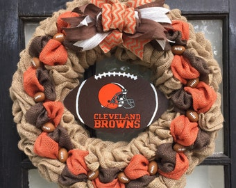 Cleveland Browns wreath, Cleveland Browns front door wreath, Cleveland Browns, football wreath, burlap football wreath, football fan