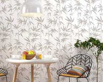 Bamboo Wall Stencil - Decorative Scandinavian wall stencil for DIY project - Reusable stencils - Wallpaper look - DIY Home Decor