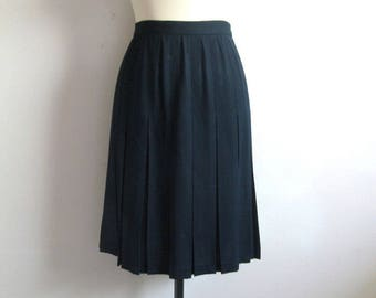 Vintage 1980s Dark Blue Skirt JH Collectibles Knife Pleat Wool Crepe 80s Pleated Skirt 12
