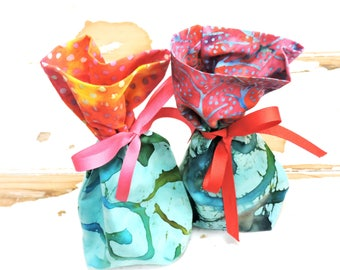 Fabric Gift Bags, Colorful Batik Boxed Bottom Reusable Gift Wrap Cloth Pouches, Treat Bags, Hosiery Jewelry Storage, set of 2 itsyourcountry