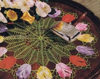Tulip Doily, Vintage Crochet Pattern, INSTANT DOWNLOAD PDF