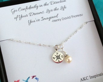 Graduation Gift, Personalized necklace, Graduation gift for her, Graduate, College graduate gift for her, Compass Necklace, Go Confidently