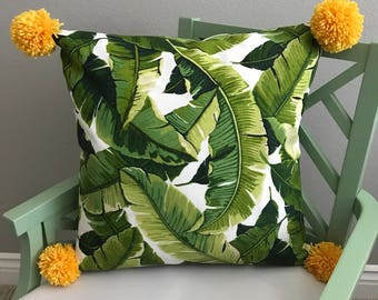 Outdoor/ Indoor Banana Leaf Palm Pillow Cover with Pom Poms