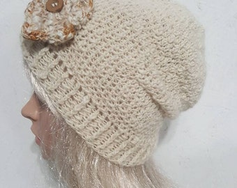 Alpaca Slouche Hat, Hand Made Alpaca Hat, Crocheted Slouche Hat, Handspun Alpaca Hat, Natural White Alpaca