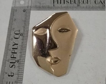 10%OFF3DAYSALE Vintage  goldtone face pin brooch
