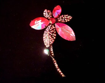 HOLLYCRAFT vintage hot pink flower iridescent aurora borealis rhinestone brooch pin - Antique jewelry - unique gift, wedding, bridal