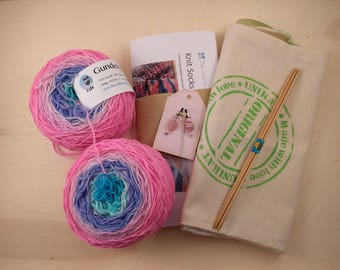 Sock knit kit with hand dyed yarn, pattern, handmade stitch markers, handmade project bag, double pointed needles and yarn sewing needle