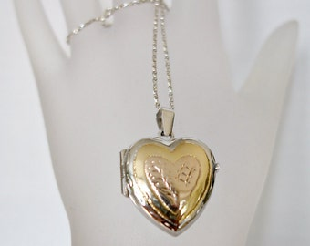 SALE Vintage Sterling Silver Gold Heart Locket with Sterling Silver Chain NOW 86.00 WAS 95.00