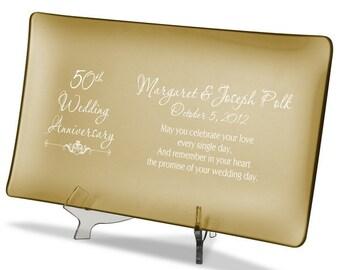 Engraved 50th Anniversary Golden Glass Platter