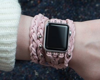 Pink Apple Watch band 38mm 42mm, brown leather women Apple Watch Band, Apple Watch braided, Gopher