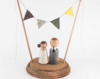 Custom Wedding Cake Topper - personalized cake topper - wooden peg cake toppers - peg doll bride and groom - custom peg doll cake toppers