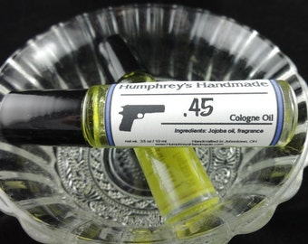 45 Men's Cologne Oil, Roll On Cologne, Barbershop Fragrance Oil, Bpa Free Glass Bottle, Moisturizing Jojoba Oil, Gun, 2A