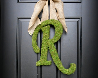 Spring Wreath.  Summer Wreath. Script Moss Letter Wreath with Rustic Burlap Bow.  Simple Elegance for the Southern Belles.