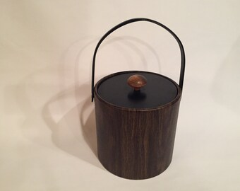 Vintage Invinware Faux Wood Grain Ice Bucket From The 1960's With Black Lid