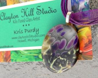 Fused Glass Necklace - Purple Rain