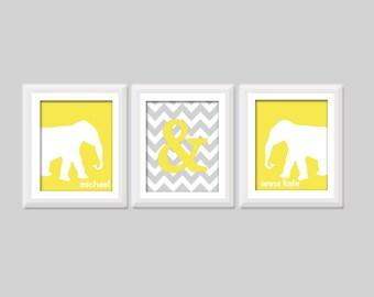 Boy Girl Twin Nursery Art Set of 3 Prints, Boy Girl Twin Nursery Decor, Twin Elephant Nursery Art, Twin Chevron Nursery Art