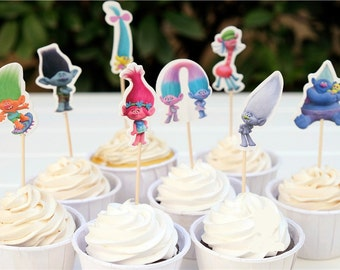 24 pieces trolls cake cupcake toppers