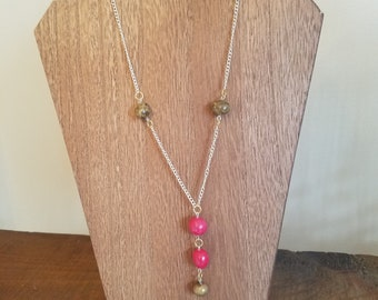 Gold and Red Polymer Clay Bead Necklace
