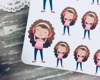 Music Lover Sticker   Music Student Sticker    Listening to Music Girl Sticker   Character Sticker   Planner Girl Sticker   0057