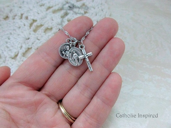 Tiny st gerard miraculous medal crucifix necklace stainless aloadofball Image collections