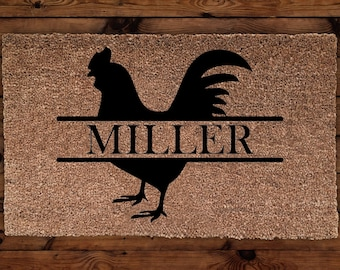 Rooster Personalized Doormat, Rooster Doormat, Farm Doormat, Custom Doormat,  Wedding Gift,