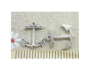 SET of 10 sea marine (C79) silver ship anchor charm