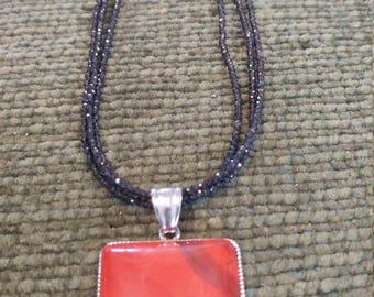 Red Jasper Pendant on Black Spinel Chain
