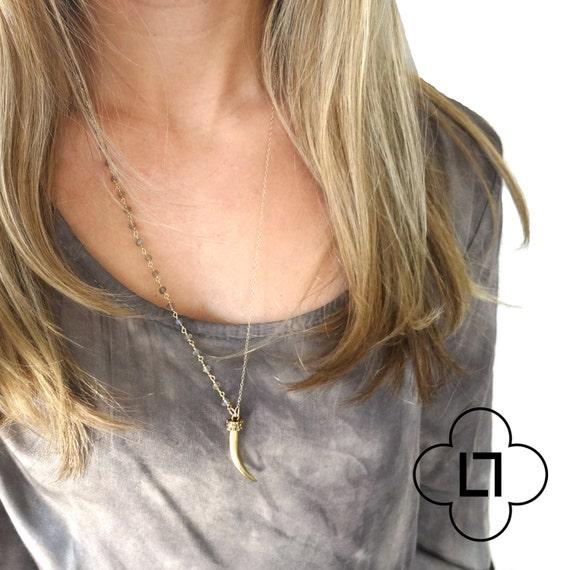 Asymmetrical Horn Necklace with Labradorite