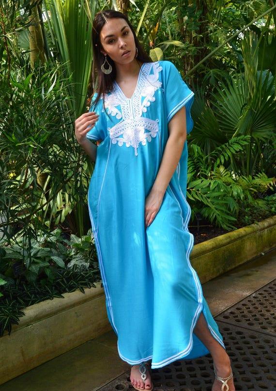 Winter Kaftan Sale//Turquoise Blue & White Marrakech Resort Caftan Kaftan - beach cover ups, resortwear,maxi dresses, birthdays, dress