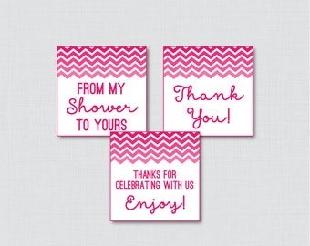 Hot Pink Chevron Printable Favor Tag - Baby Shower Favor Tags in Pink - Thank You Tag, From My Shower to Yours Favor Tags - 0017-HP