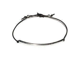 Adjustable Black Leather Bracelet with Silver Plated Curved Tube Bead