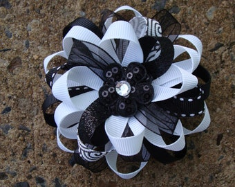 White and Black Loopy Flower Hair Bow