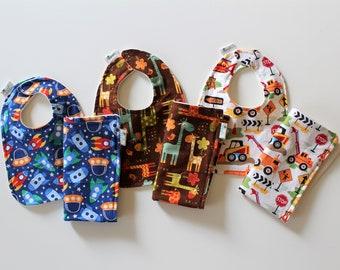 Boys Baby Bib and Burp Cloth Set, Newborn Gift, Baby Shower Gift, Organic Cotton