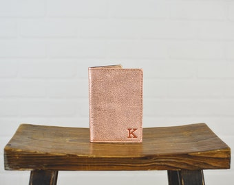 Rose Gold Passport Cover Personalized Leather | Custom Monogram Leather Passport Holder Travel Wallet Bridesmaid Gift for Her | Wedding Gift