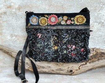 Embroidered leather crossbody bag, Black leather messenger bag, Cross body boho bag, Trendy women gift, Festival bag, Embroidered bag