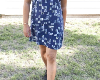 Shift Dress. Hand Painted. Color Blocked. Modern Abstract Pattern Design.