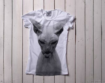 White Sphinx cat shirt womens t-shirt with cat Funny cat t-shirt Cat lovers t-shirt Animal t-shirt Original gift idea Gift for her