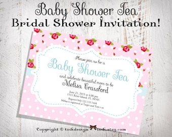 Baby Shower Tea Party Invitation - Shabby Chic Roses - Printable digital file