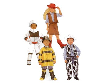 Childs Costume Pattern Astronaut Firefighter Cowboy Cowgirl Kids Costume Halloween Jumpsuit Vest Butterick 3244 Size 6 7 8 Sewing Pattern