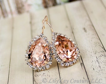 Blush Pink Earring Rose Gold Earring Bridesmaid Jewelry Blush Rose Gold Earrings Soft Pink Earring Vintage Earring Morganite Bridal Earring