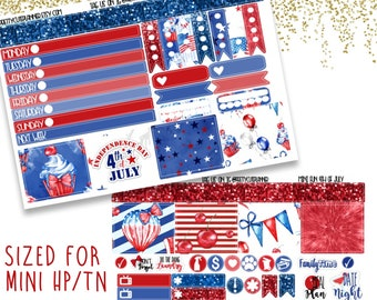 Mini Happy Planner Stickers - Personal Planner Stickers - Travelers Notebook Stickers - BuJo Stickers - Fun 4th of July - Independence Day