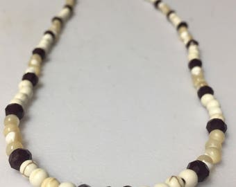 Brown Glass, Mother of Pearl and White Howlite Necklace