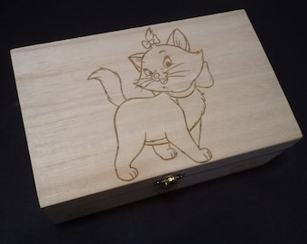 The Aristocats MARIE Etched wood Trinket Box