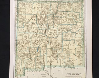 1943 Vintage Map of New Mexico, Original Vintage Map, Green Neutral Color Map