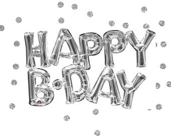 "30"" Happy Birthday Balloon, Silver Foil, Happy Birthday Balloon Banner, Happy Birthday Garland, Silver Happy Birthday Balloon,Phrase Balloon"