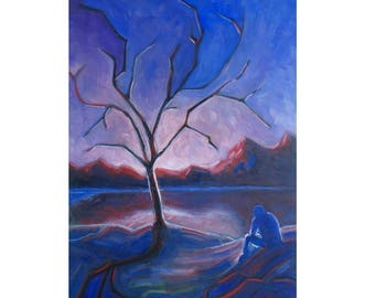 oil painting // landscape melancholic figure // artistic work of art // hand-painted expressionism contemporary art