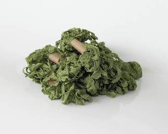 5 m - 5.4 yards - MOSS GREEN Shabby Wrinkled Ribbon - Crinkled Seam Binding Ribbon