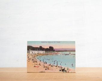 Vintage Postcard Art Block 'Vancouver Beach' - Canadiana, British Columbia, image transfer