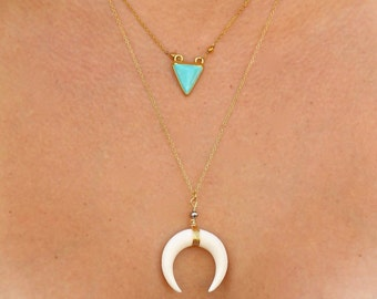 Double Horn Necklace, 18k Gold Plated Chain, Crescent Moon Charm, Boho, Bone Necklace, Tusk, or Turquoise Triangle Necklace