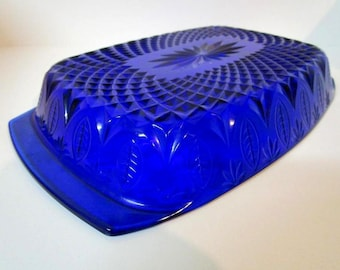 French Cobalt Blue Pressed Glass Serving Dish